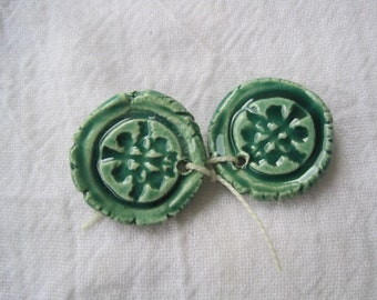Ceramic charm pair tree of life earthy leafy green organic