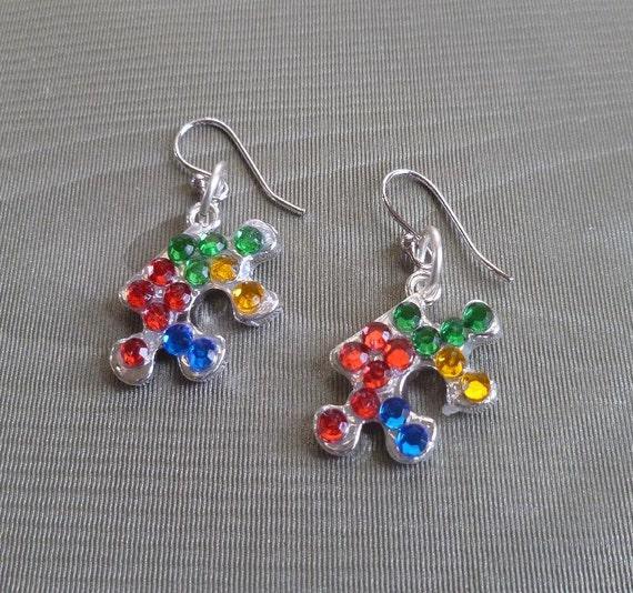 autism awareness earrings asperger awareness earrings dangle