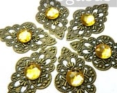 Victorian Bronze Filigree Pendants (6 Pieces)(2 inch length) Yellow Peridot Gem connectors for Elven, Steampunk, chain jewelry