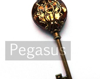 Amber Brown Filigree Acrylic Gem Steampunk Skeleton Key (1 Piece)(12 Option Color) Jewelry pendant for scrapbook,costume,wedding,favors