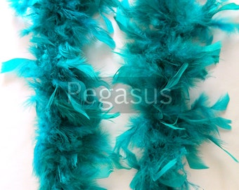 TEAL GREEN turkey feather boa (1 or 2 yard pieces) for hats, feather fascinator, feather dresses, children dress up, centerpiece,home decor