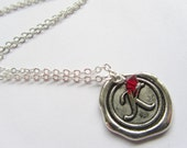 Personalized Necklace, Wax Seal Monogram Necklace with Birthstone, Initial, Birthstone Necklace
