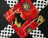 Quilted Table Runner with Red and Orange Poppy's
