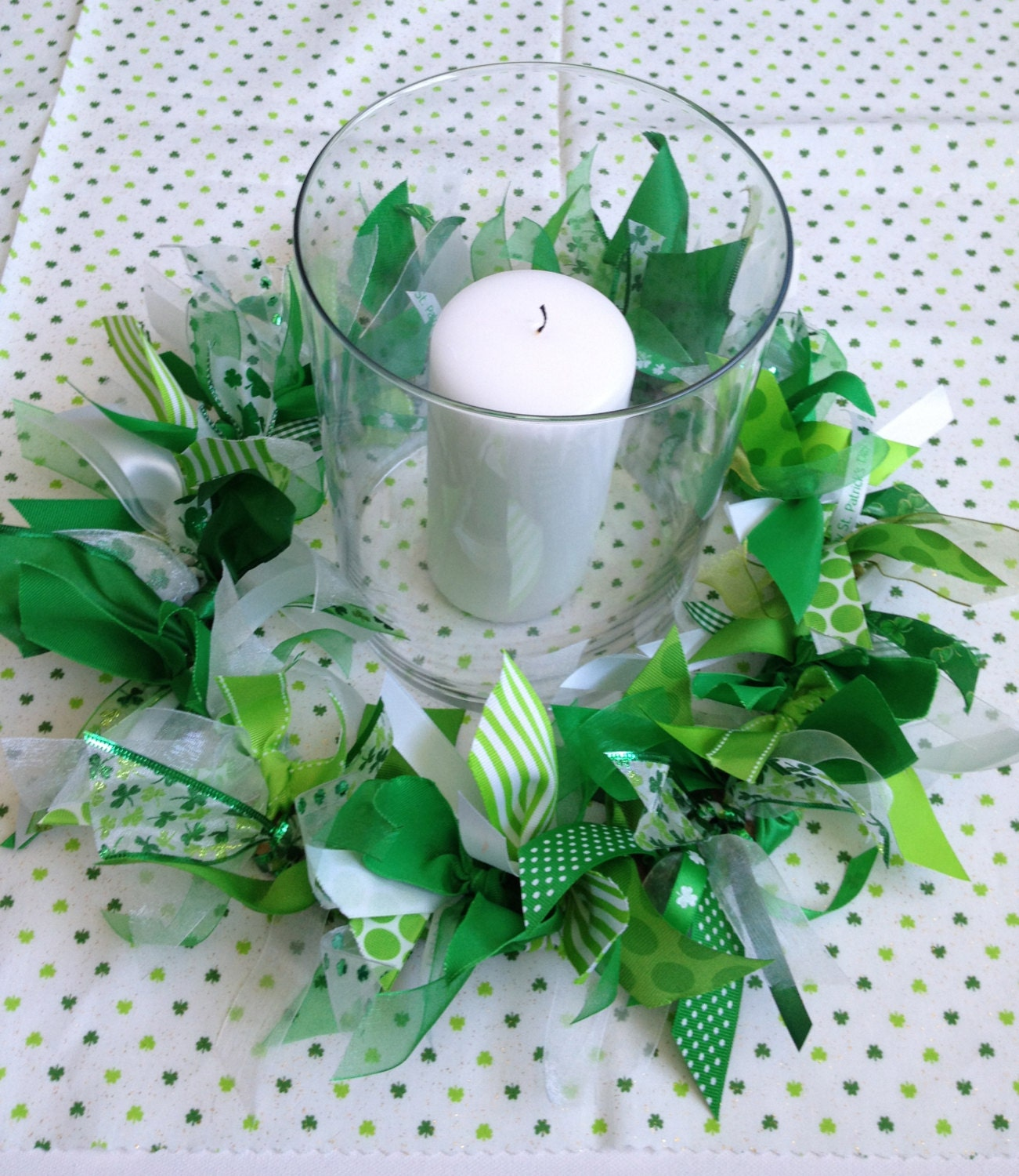 Candles Decoration: St. Patrick Day Decoration Candle Ring Or Wreath By