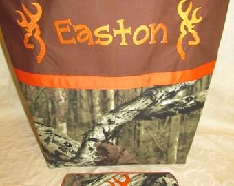 Diaper bag, baby bag, tote, mossy oak camo camouflage deer buck diaper bag and travel wipe case you choose name