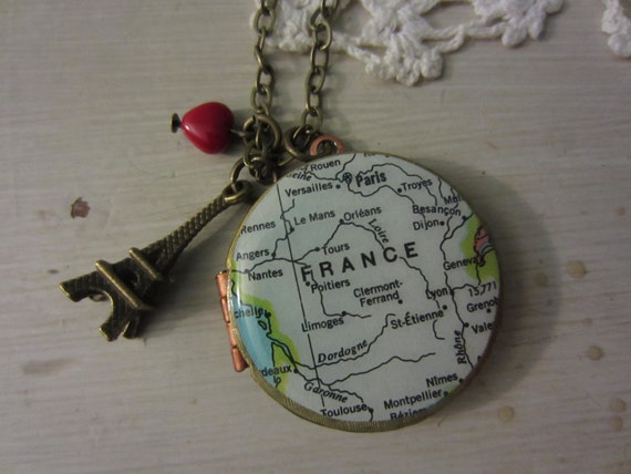 Paris France Vintage Map Locket