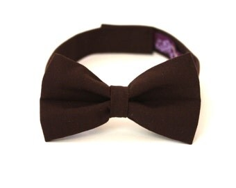 Boy's Bow Tie - Brown - Solid Chocolate Brown Kid's Bowtie - size 3-5 IN STOCK