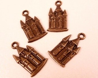 Castle Charms Castle Beads Brass Beads Brass Charms Brass Findings Fairy Tale Metal Beads