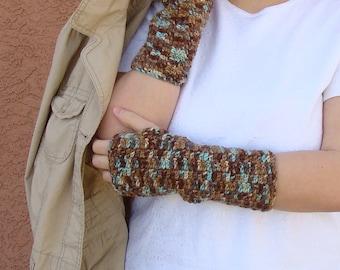 Driftwood Fingerless Gloves for Men or Women, Light Blue and Brown, Crochet, Crocheted Fingerless Gloves, Mittens, Arm Warmers
