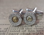 9mm bullet cufflinks Speer PLUS P Premium Bullet Shell Cufflinks  Two Tone silver and gold