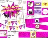 GIRLS Superhero PRINTABLE Party Pack