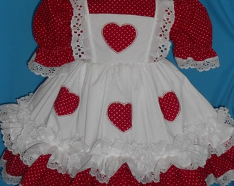 Larger Sizes...Boutique Custom Made OOAK Mini Heart Double Ruffle Dress