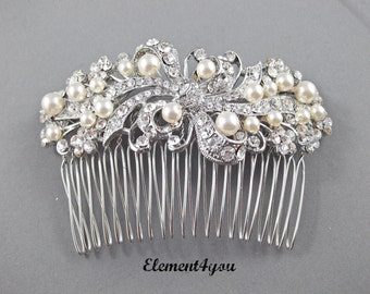 Bridal Comb, Rhinestone Comb, Bridal Comb Crystal, Wedding Hair Comb, Swarovski pearls, Ivory White Wedding Accessory, Bridal Headpiece,