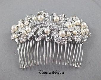 Bridal Comb, Rhinestone Comb, Bridal Comb Crystal, Wedding Hair Comb, Swarovski pearls, Ivory White Wedding Accessory, Bridal Headpiece,