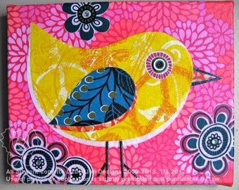 Funky Chic - little chic fabric collage wall art - Ready to Hang