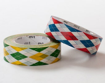 Discontinued - MT 2013 - Single Japanese Washi Masking Tape / Green or Red Argyle