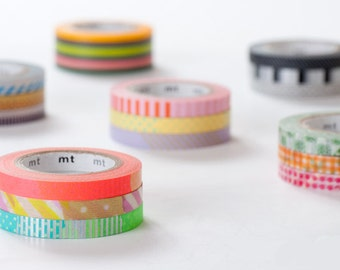 mt 2013 - Japanese Washi Masking Tapes / 6mm Slim Dots & Stripes Deco Tapes - Set of 3