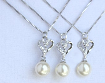 3 bridesmaids necklace sterling silver with Micro Pave crystals - GORGEOUS - NM1002
