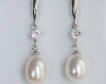 Tear drop Freshwater pearl Bridal Earrings Crystal Wedding - ER1007