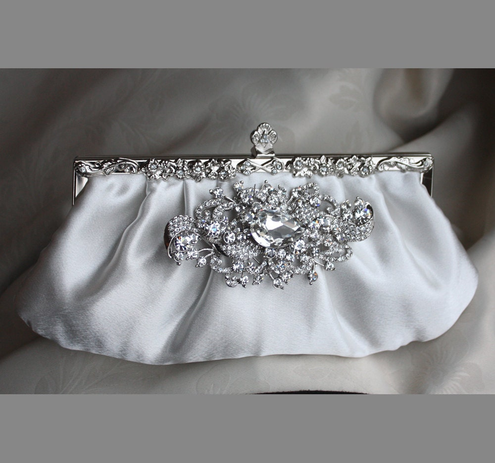 Ivory Satin Clutch With Crystal Brooch Wedding Handbag Bridal