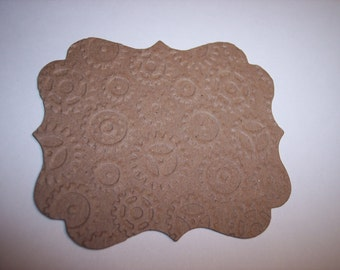 Fancy Steampunk Embossed Gears Chipboard Tags set of 6