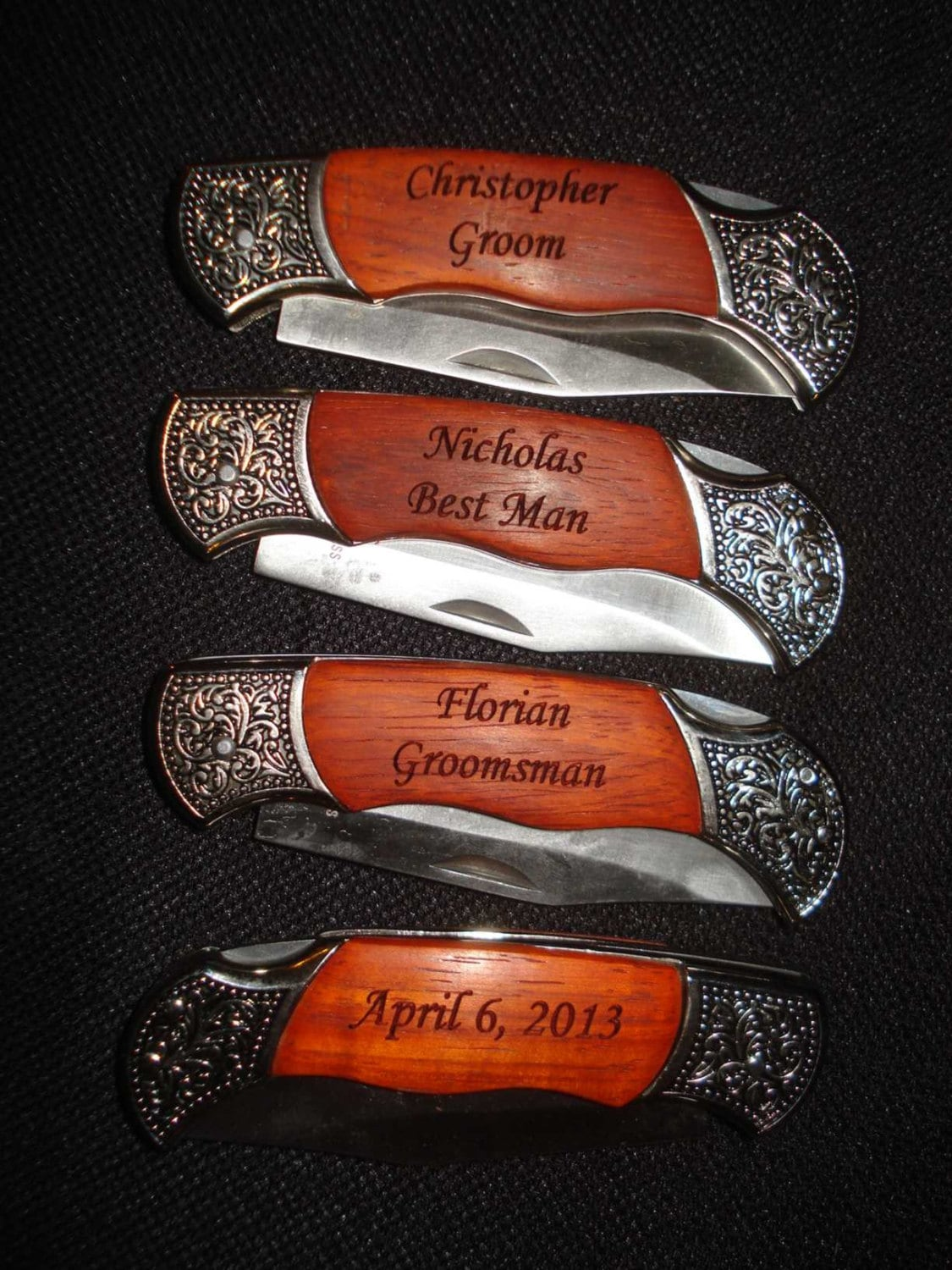 Wedding Gift For Best Man: 4 Personalized Engraved Pocket Knives