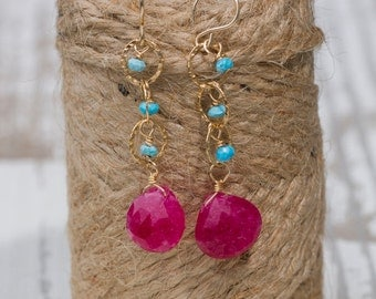 Ruby Briolettes with Turquoise Earrings | Drop Earrings | Dangle Earrings | Gemstone Jewelry | Turquoise and Gold | Rubies | Dangle + Drop