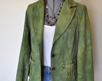 "Green Small Denim Jacket - Sage Green Hand Dyed Upcycled Sonoma Denim Blazer Jacket - Adult Womens Size Small (36"" chest)"