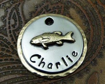Personalized Fish Dog ID Tag, Dog Tag, Custom Dog ID Tag, Fish Tag for Pet Collar