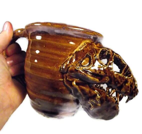 T-Rex Tyrannosaurus Dinosaur Fossil Mug in Natural Brown Stoneware