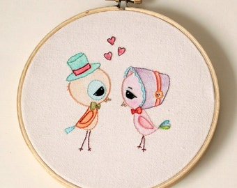Love Birds pdf Embroidery Pattern - Instant Download