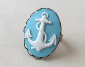 Blue Anchor Ring, Nautical Ring, Sailor Ring, Cameo Ring, Blue Ring
