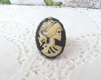 Zombie Ring, Skeleton Ring, Cameo Ring, Lolita Ring, Antiqued Bronze