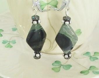 Green Jasper Gem Stone Earrings