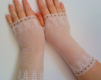 Fingerless gloves of stretch lace,wedding gloves