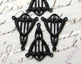 Art Deco triangle necklace link, 2 to 1connector, dark antiqued brass, 15mm x 27mm (4 reducers) black aged patina