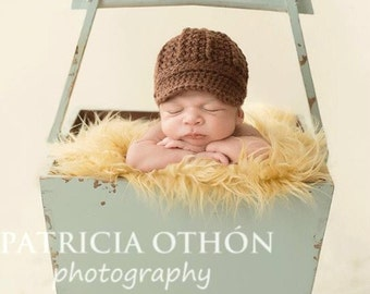 Newborn Hat, Newsboy Hat, Baby Boy Hat, Photography Prop