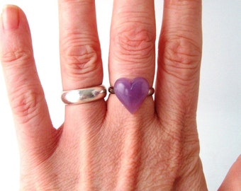purple heart statement ring adjustable band cocktail ring fashion womens ladies modern valentines day sweetheart love romance romantic lilac