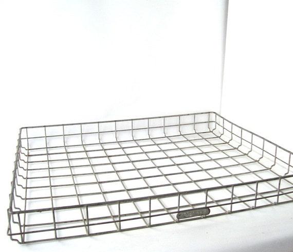vintage locker basket tray metal wire industrial storage bin