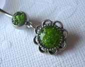 Flower Belly Ring, Green Belly Ring, Belly Button Jewelry, Rock Candy Jewelry