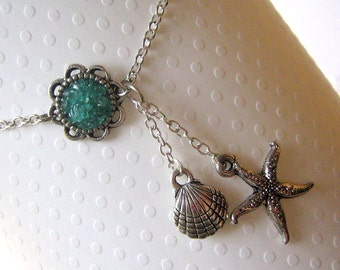 Shell and Starfish Y Ankle Bracelet, Silver Dangle Anklet, Custom Plus Size, Sea Star Lariat Anklet, Stained Glass, Red Green Blue