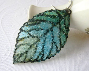Stained Glass Leaf Necklace Large Leaf Pendant Blue Leaf Necklace Bronze Leaf Botanical Jewelry for Pixies Woodland Necklace for Christmas