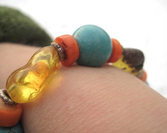 Natural Amber Turquoise Bracelet Honey Blue Teal Rough Stone Freeform Toggle African Valentines Day Chunky