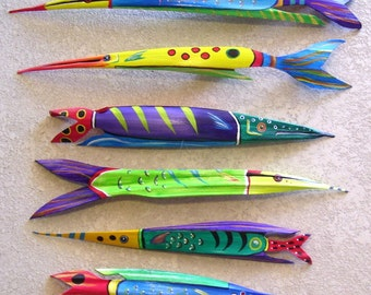 Tropical Fish Carved from Coconut Palm Seed Pod  Over 2 FT Long Lime Green with Blue Stripes