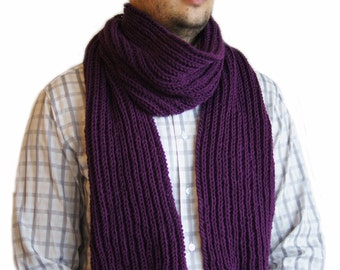 Purple  scarf, Mens knit scarf, Man scarf, Purple knit scarf for men