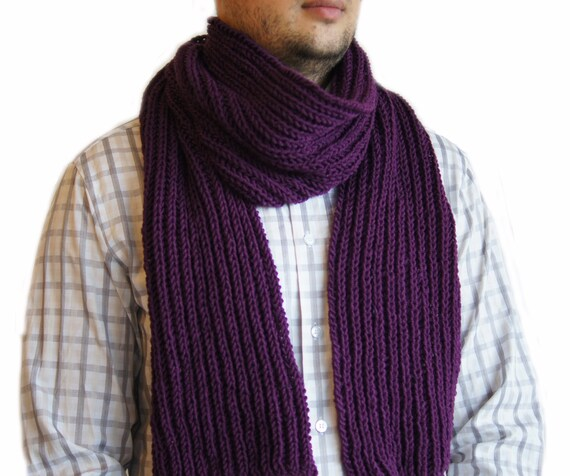 Sale 40 Purple scarf Mens knit scarf Man scarf Purple knit scarf  Knitted Scarves For Sale