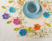 Bright Kitchen Floral Crochet Garland