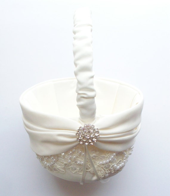 Flower Girl Basket Montreal : Wedding flower girl basket with beaded alencon lace ivory