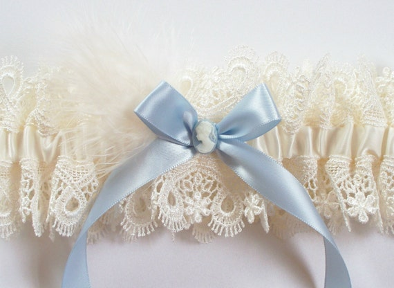 Cameo Wedding Garter with Dusty Blue Bow and Optional Feather Detail - The CAMI Garter