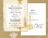 Chandi Oasis Vintage Style Printable Bridal Shower Invitation DIY Editable PDF